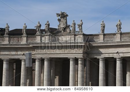 Statues of Alexander VII Pont Max at St. Peters Square, Vatican City poster