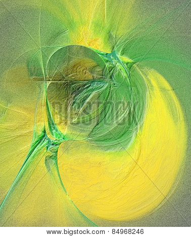 Abstract Embossed Background In Yellow And Green