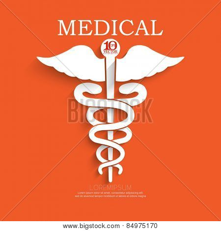 eps10 vector aesculapius medical symbol, two serpent surrounding a staff with wings, white silhouette with shadow concept background