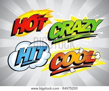 Hot, crazy, hit, cool pop-art symbols set.