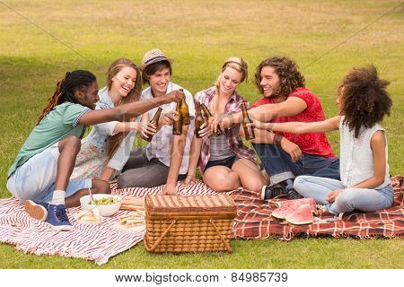 Happy friends in the park having picnic on a sunny day poster
