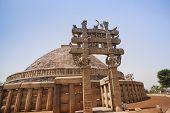 Great Stupa built by Ashoka the Great at Sanchi, Madhya Pradesh, India poster