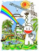 cartoon engineering have big project build factory of cement and oil concept save world and keep nature. poster