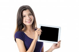 Beautiful Asian girl holding digital tablet on isolated background