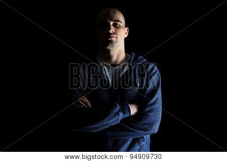 Photo of hairless man with uplifted chin