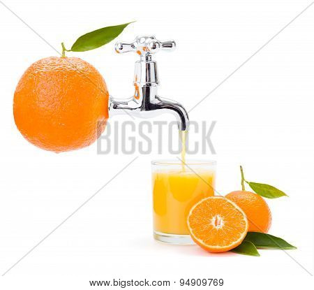 Orange Juice Flowing From Big Fruit