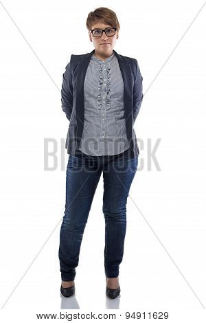 Image pudgy woman in jeans