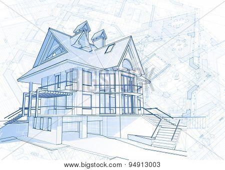 Architecture design: blueprint - house  & plans illustration