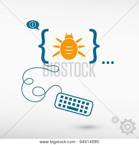 Bug Icon And Flat Design Elements