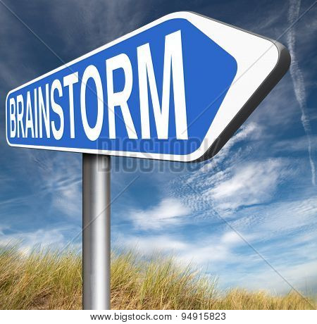 Brainstorm road sign teamwork to creative fresh idea or solution team brainstorming search innovation and inspiration think tank
