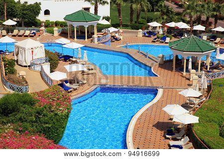 Tropical Luxury Resort Hotel On Red Sea Beach In Sharm El Sheikh, Egypt.