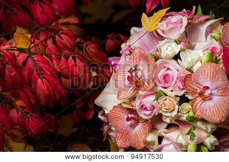 Bridal Bouquet With Gentle Orchid And Roses