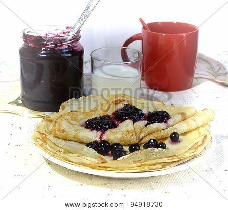 Pancakes with jam on Shrovetide.