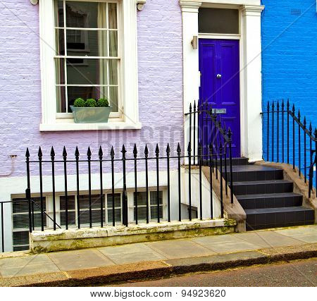 Notting   Hill  Area  In London England Old Suburban And Antique  Liliac   Wall