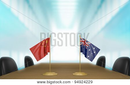 China and Australia relations and trade deal talks 3D rendering