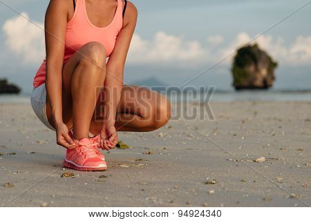 Running And Sport At Beach On Summer