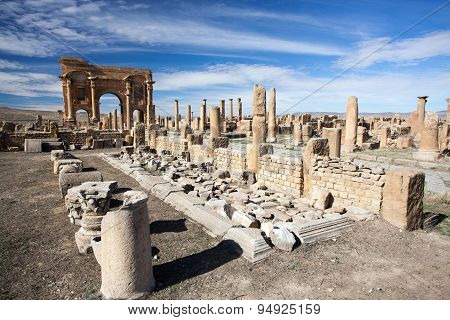 Roman Ruins Of Timgad In Algeria