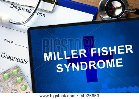Diagnosis Miller Fisher syndrome and tablets on a wooden table. Medicine concept. poster