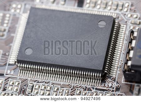 Electronic Chip On Computer Circuit Board