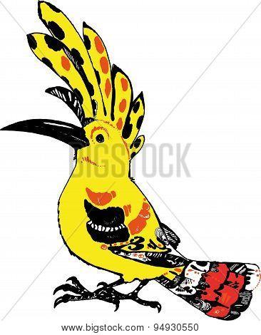 Yellow bird hoopoe