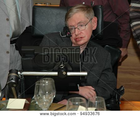 Tel Aviv, Israel, Dec, 12, 2006: Professor Stephen Hawking is visiting Tel Aviv university