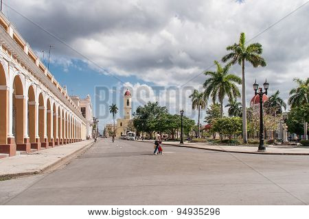 Square In The Center Of Cienfuegos Town, Cuba. It Is A City On The Southern Coast Of Cuba.