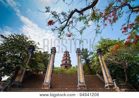A boat station at Perfume River (Song Huong) near Thien Mu pagoda, Hue, Vietnam