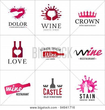 Set of wine bottle glass logo. Original winery sign design. Old vineyard vector elements