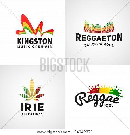 Set of positive ephiopia flag logo. Jamaica reggaeton dance music vector template. African culture print design. Colorful kingston company concept. poster