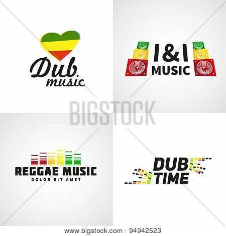 Set of africa flag logo design. Jamaica music vector template. Colorful dub time company concept