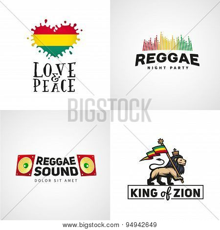 Set of reggae music vector design. Love and peace concept. Judah lion with a rastafari flag. King Zi