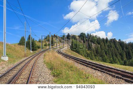 Rack Railroad On The Mount Rigi