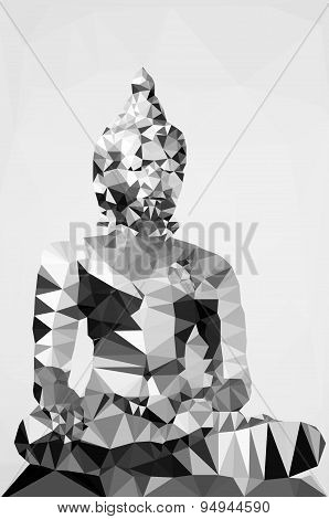 Polygonal Illustration Of Statue Of Budha Isolated On White Background