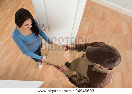 Young Woman Receiving Courier From Delivery Man