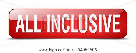 All Inclusive Red Square 3D Realistic Isolated Web Button