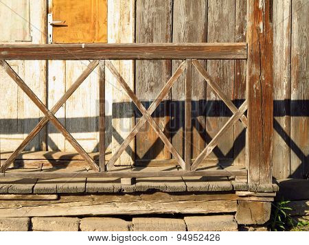 old wooden bannister