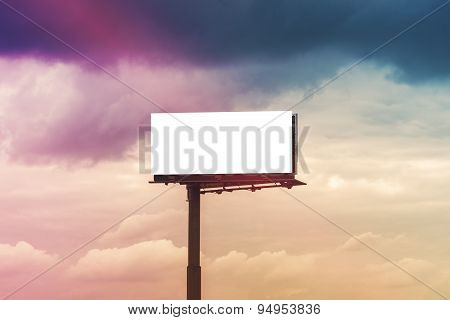 Blank Outdoor Advertsing Billboard Against Cloudy Sky