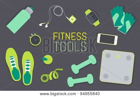 Flat icons set of fitness tools elements Gym bag