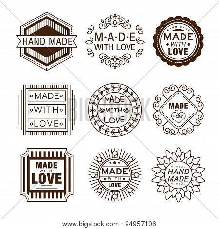 Retro design insignias logotypes , hand made, Vector vintage elements. poster