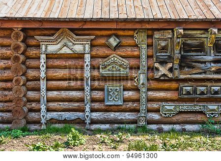 Traditional Wooden Russian Carved Platband Of An Old Wooden House
