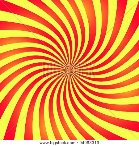 Twisted red and yellow rays. Abstract vector background poster