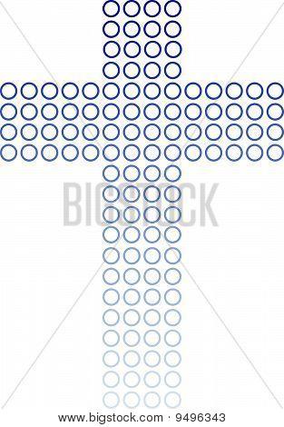 Blue Circles Gradient Cross On White.eps