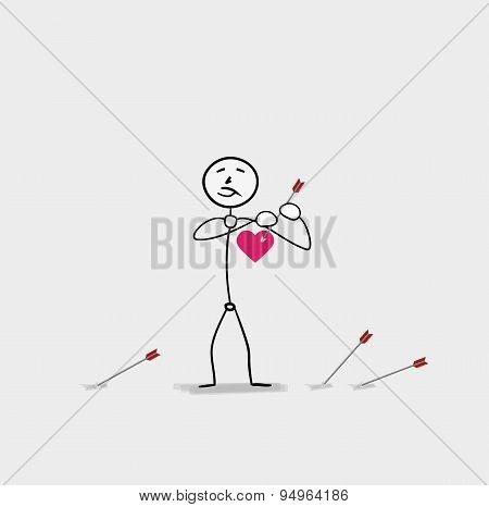 Man Piercing Heart By An Arrow