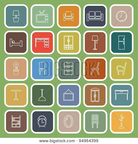 Furniture Line Flat Icons On Green Background
