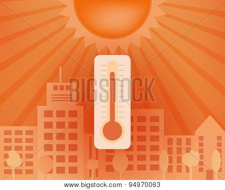 Heat Day In The City With Thermometer. Vector Summer Concept.