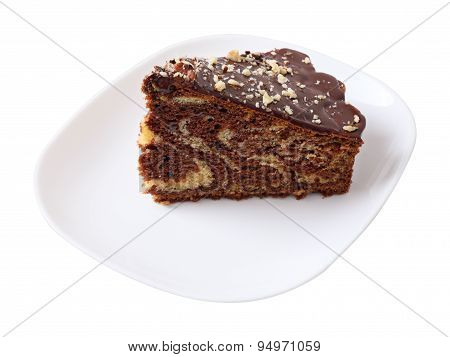 Piece Of Glazed And Sprinkled Cake