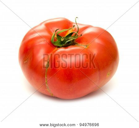 Large Ground-grown Tomato Isolated On White