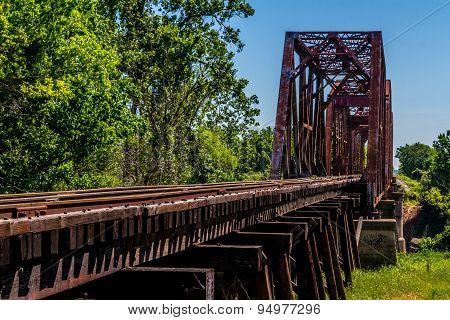 Old Railroad Tracks and Bridge in Texas