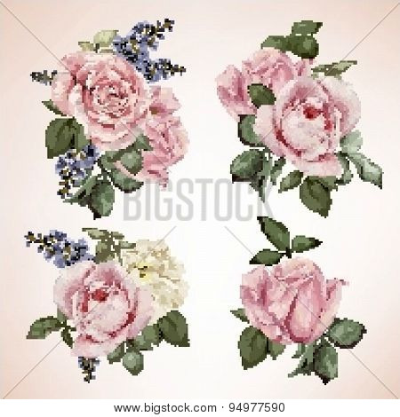 Set Of Bouquets Of Roses, Watercolor, Can Be Used As Greeting Card, Invitation Card For Wedding, Bir