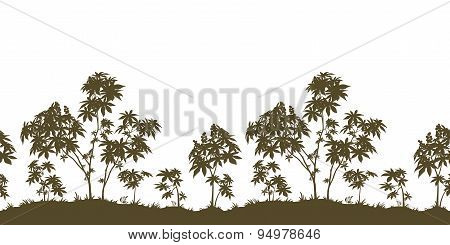 Seamless, Castor Plants and Grass Silhouette